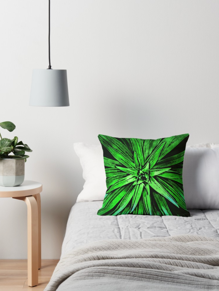Green Plant Leaves Throw Pillow