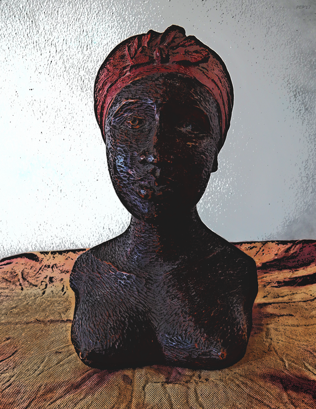 Carved Wood Bust of Caribbean Woman