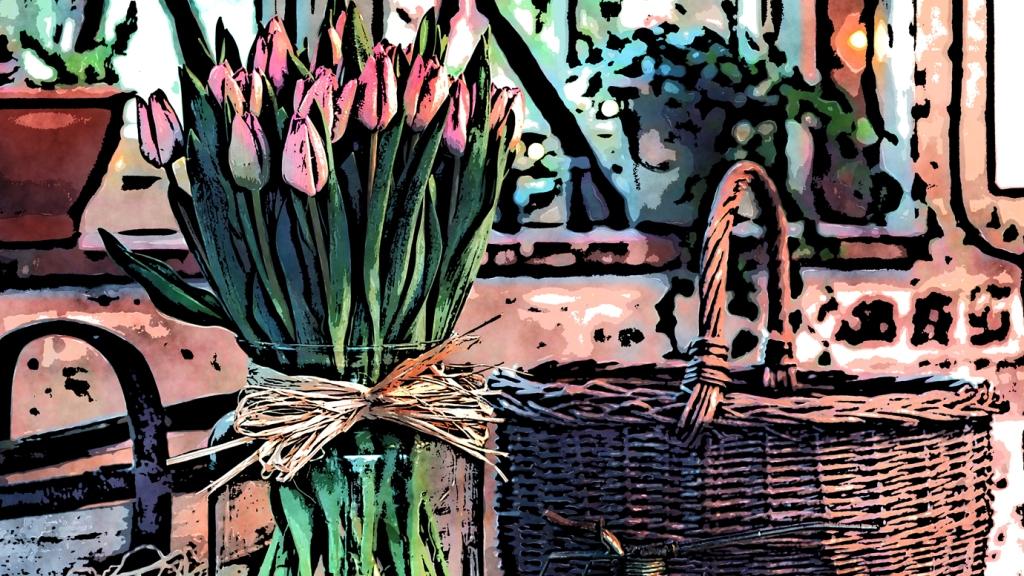 Wicker Basket And Flowers