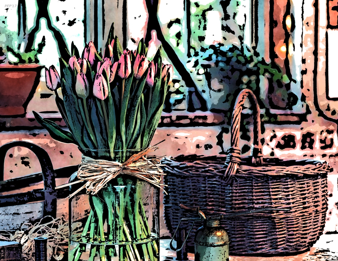 Wicker Basket And Flowers