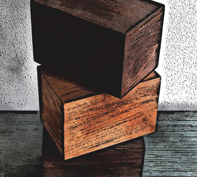 Three Wooden Boxes On Dresser