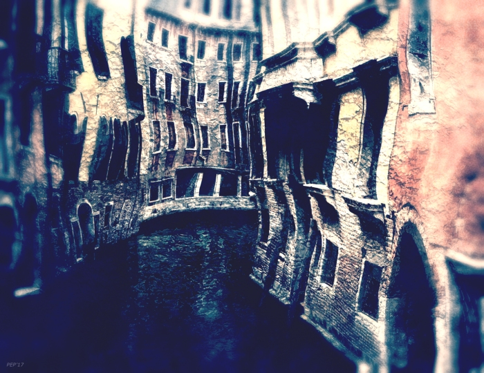 Curving Canals of Venice, Italy
