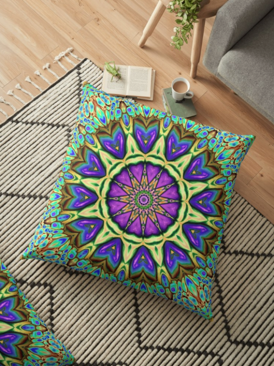 Iridescent Kaleidoscope Floor Pillow