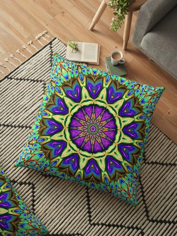 Iridescent Kaleidoscope Floor Pillow