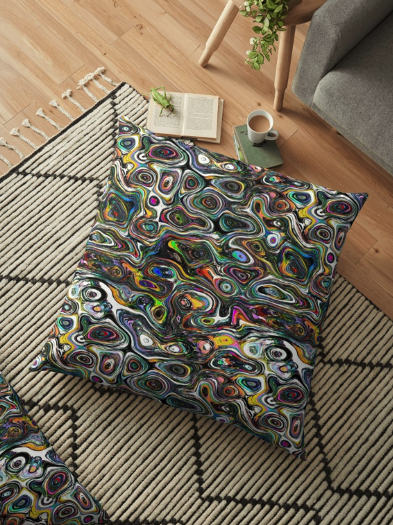 Colorful Shapes Pattern Floor Pillow