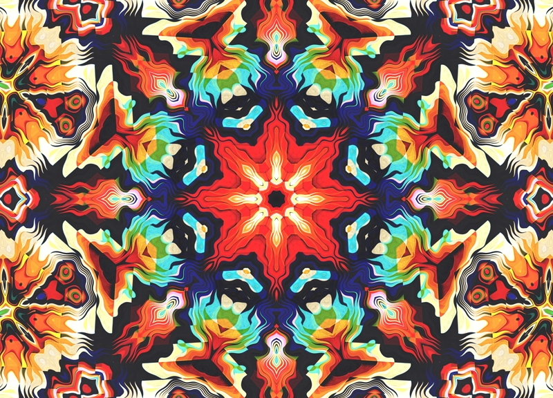 Colorful Geometric Aztec Pattern