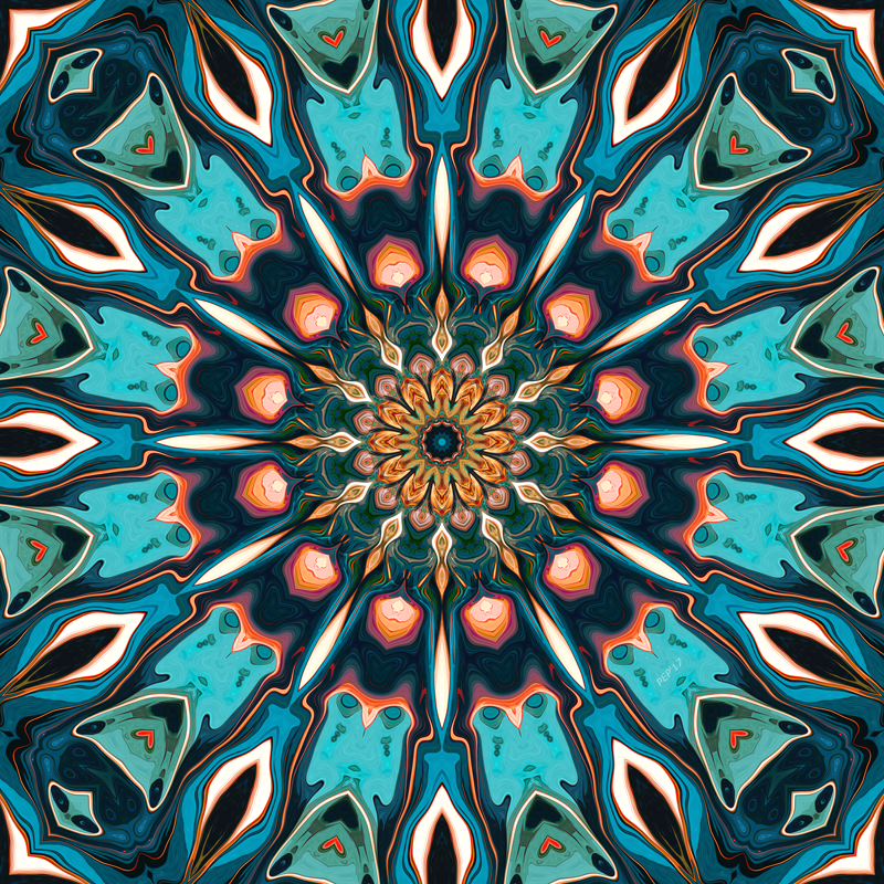 Symmetrical Abstract Turquoise Pattern