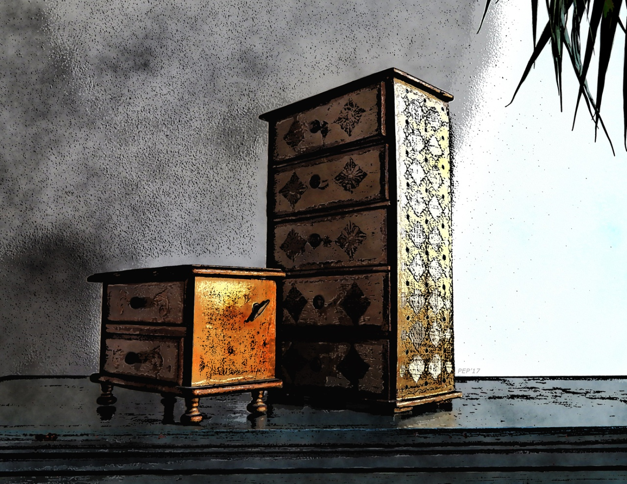 Golden Boxes On Bureau