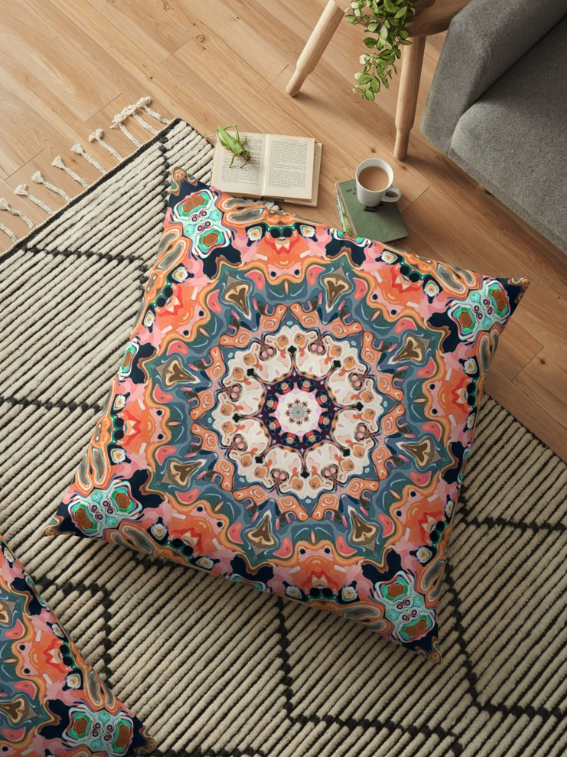 Textured Kaleidoscope Floor Pillow