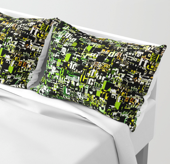 Jumbled Text Pattern Pillow Shams