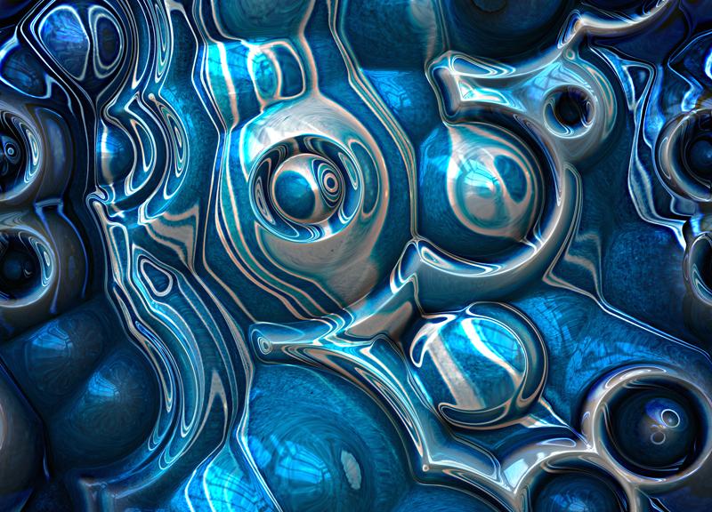 Macro 3D Blue Reflections