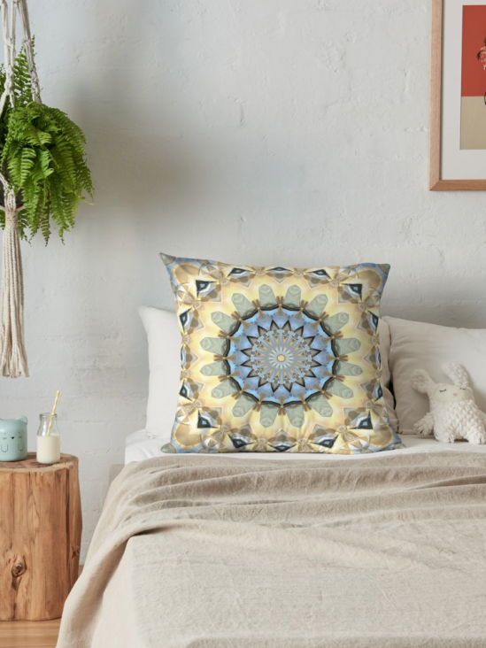 Geometric Gold And Blue Throw Pillow