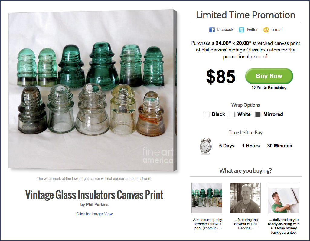 Limited Time Promotion: Vintage Insulators Canvas Print