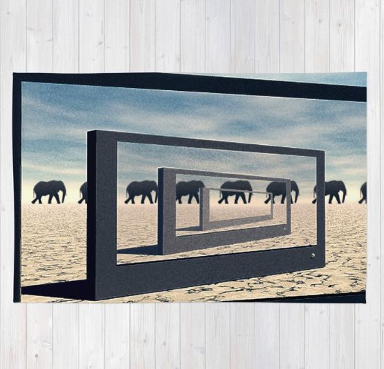 Surreal Elephant Desert Scene