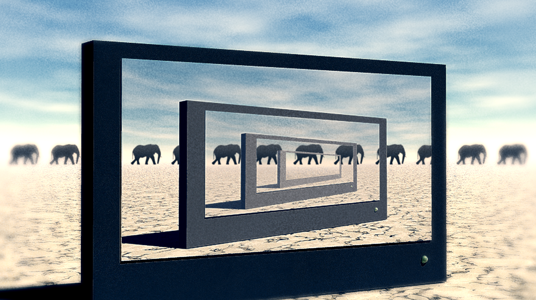 Surreal Elephant Desert Scene