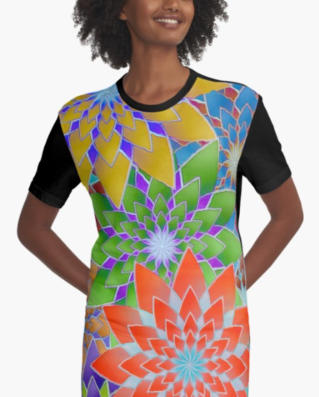 Colorful Flowers Graphic T-Shirt Dress