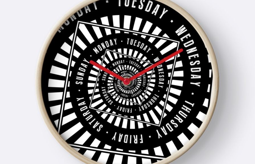 Days of The Week Wall Clock