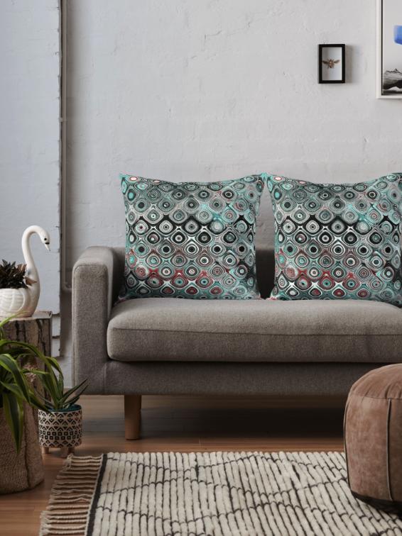 Turquoise Circles Pattern Throw Pillow