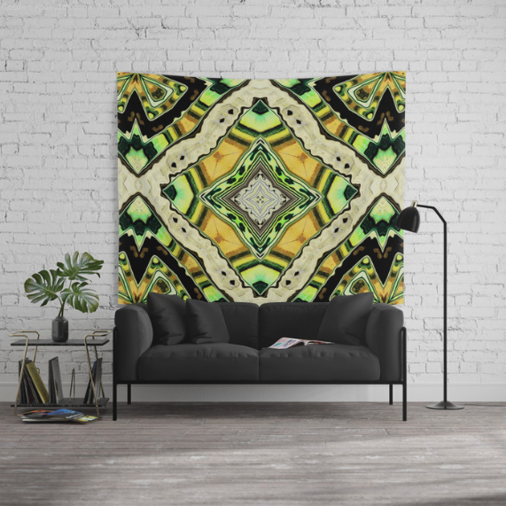 Golden Kaleidoscope Wall Tapestry