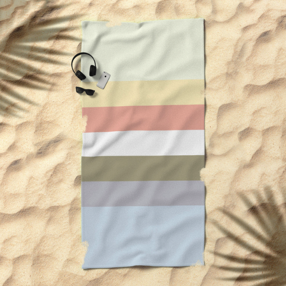 Retro Stripes Beach Towel