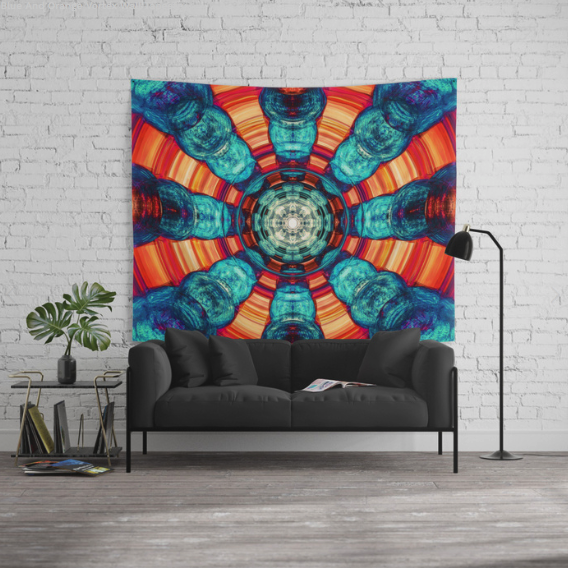 Blue And Orange Vortex Wall Tapestry