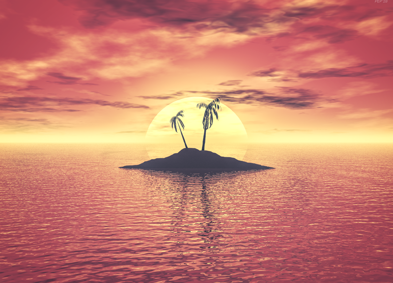 Sunset Over A Tropical Island
