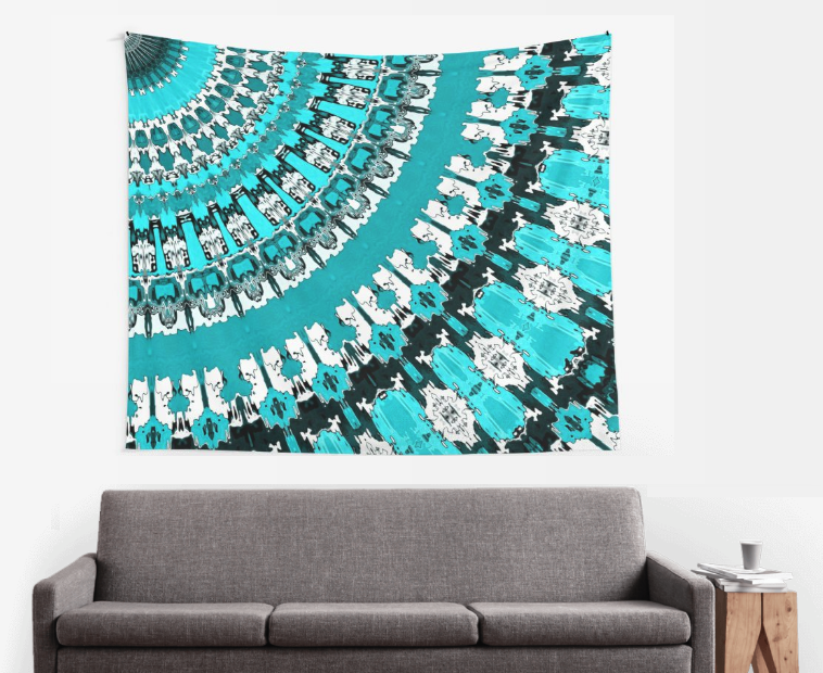 Aquamarine Rays Wall Tapestry