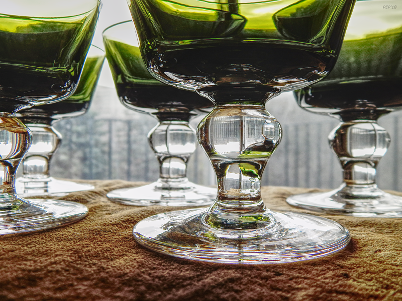 Green Glass Goblets Still Life