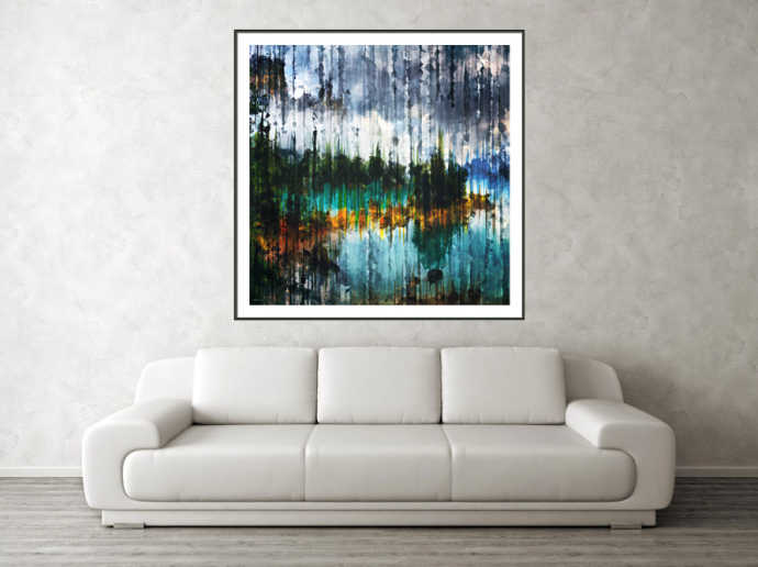 Abstract Mountain Lake Framed Print