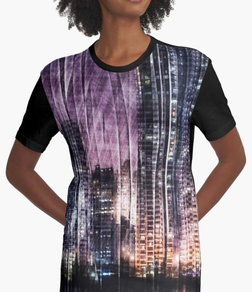 Night Reflections Graphic T-shirt Dress