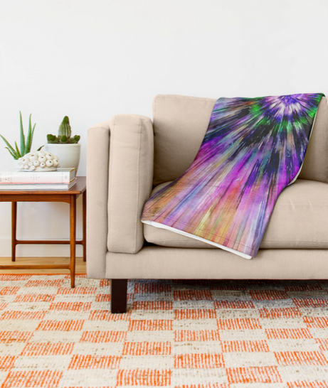 Vibrant Tie Dye Throw Blanket