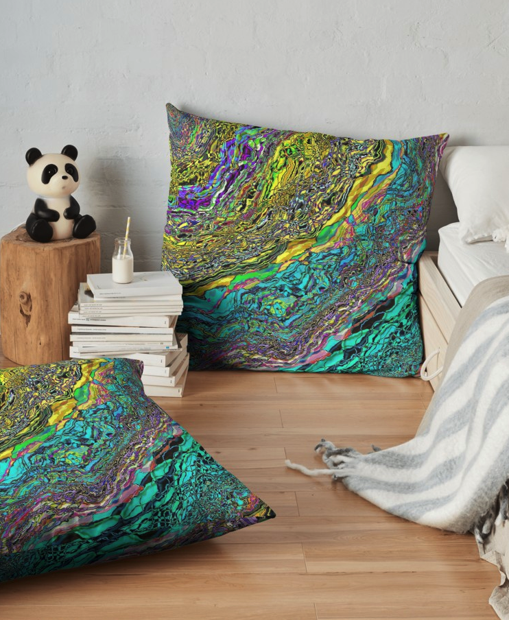 Colorful Abstract Floor Pillow