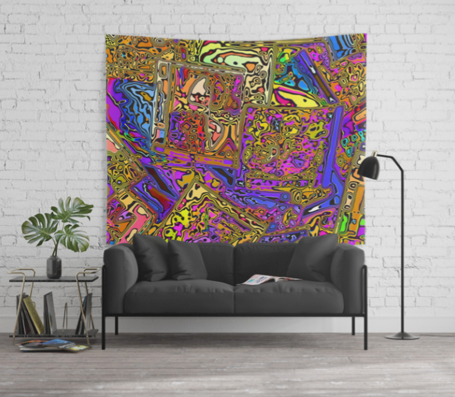 Abstract CD Cases Wall Tapestry