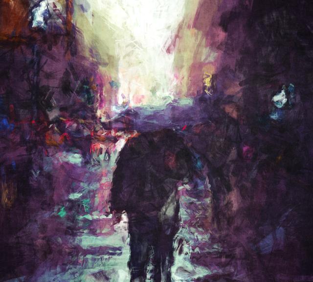 Man Walking Under Umbrella
