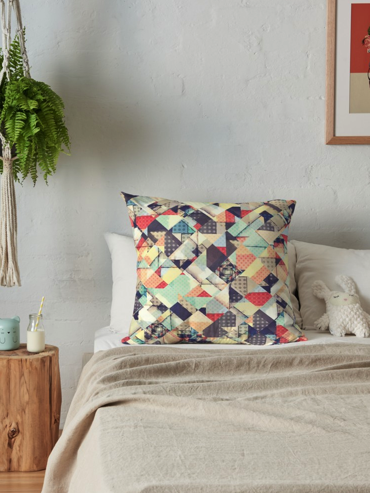 Geometric Pastels Patchwork Throw Pillow