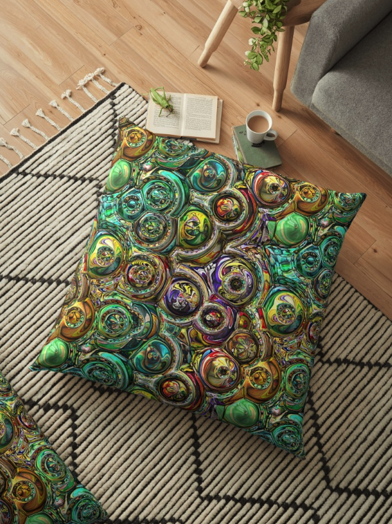 3D Spectral Abstract Floor Pillow