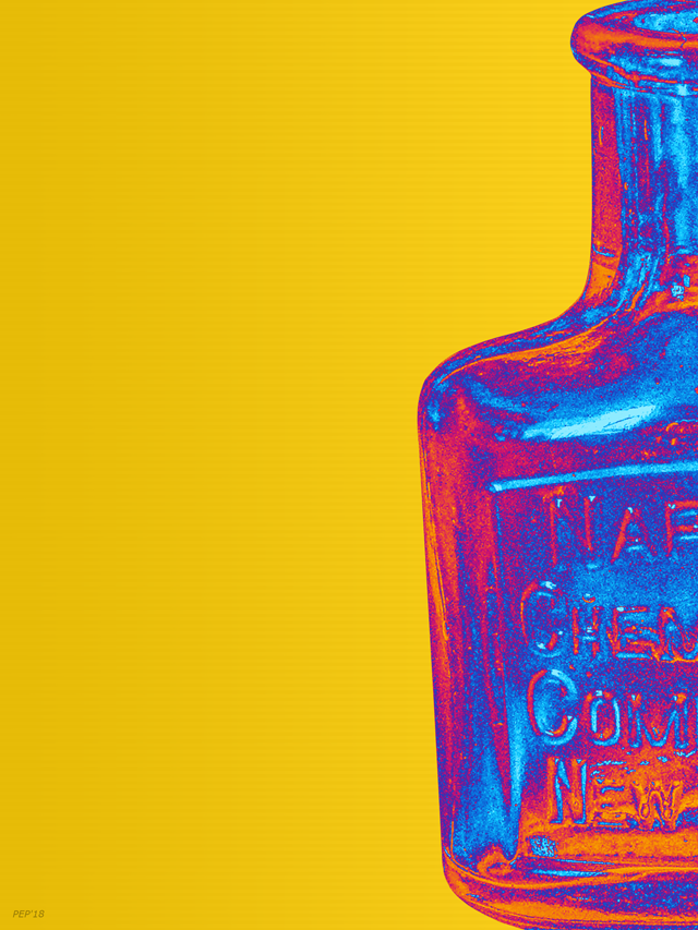 Vintage Glass Bottle Pop Art