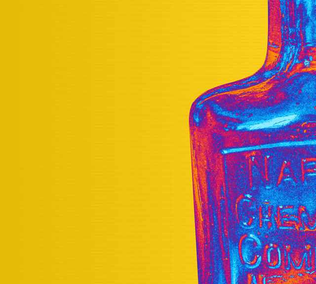 Vintage Glass Bottle Pop Art