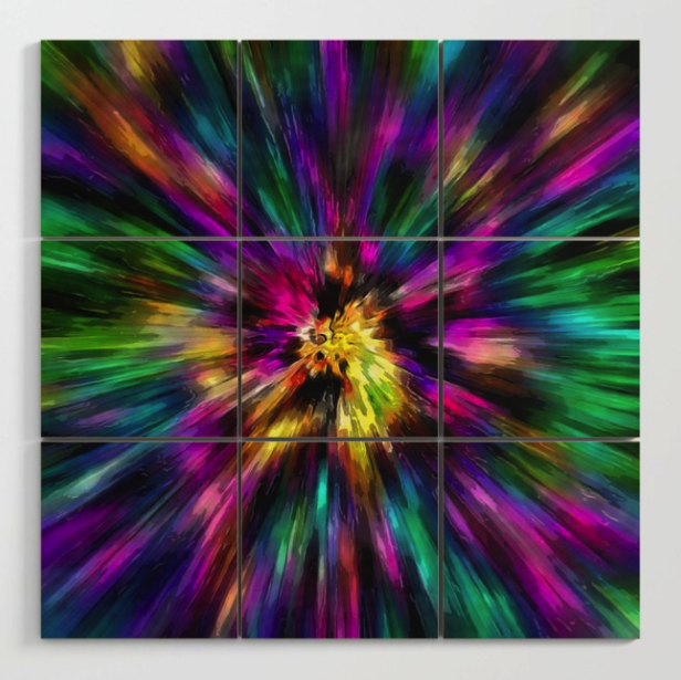 Vibrant Tie Dye Wood Wall Art