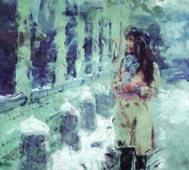 Woman Walking In Winter