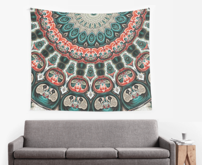 Abstract Turquoise Pattern Wall Tapestry