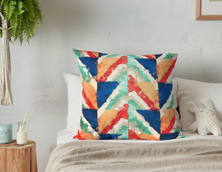 Grid of Colors Throw Pillow