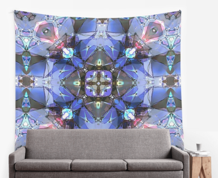 Kaleidoscope of Blues Wall Tapestry