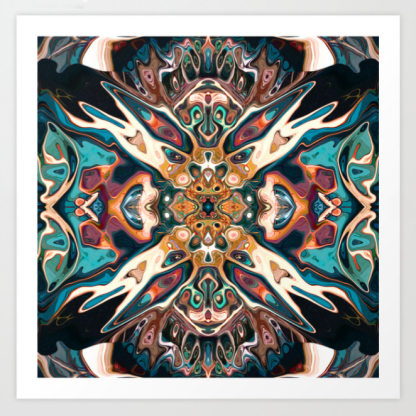 Turquoise And Gold Abstract