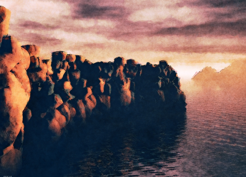 Rock Wall At Sea