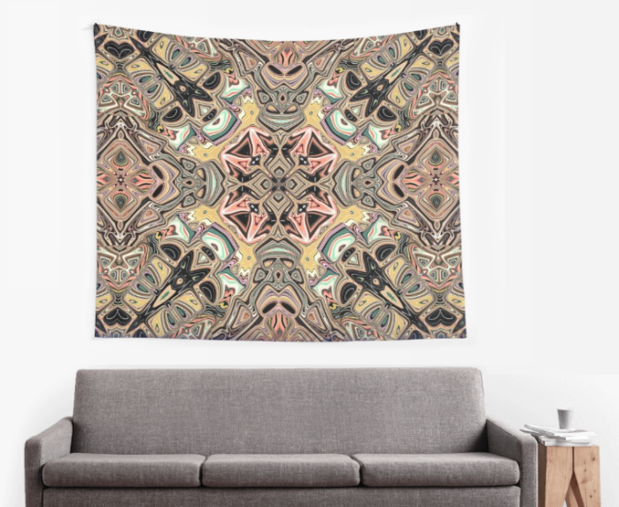 Golden Abstract Wall Tapestry
