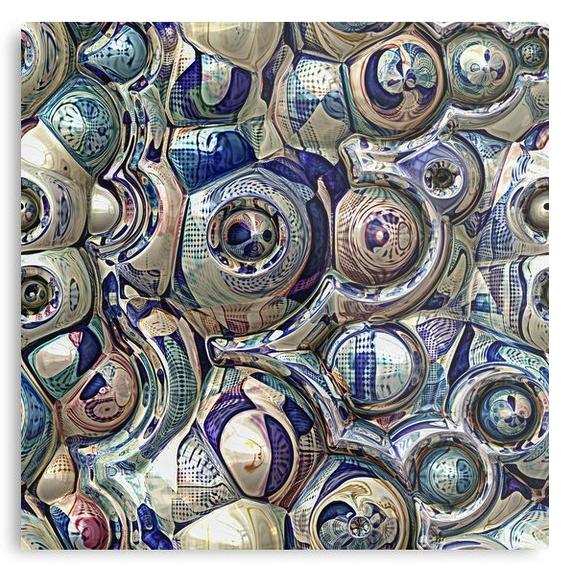 Reflective 3D Spheres Metal Print