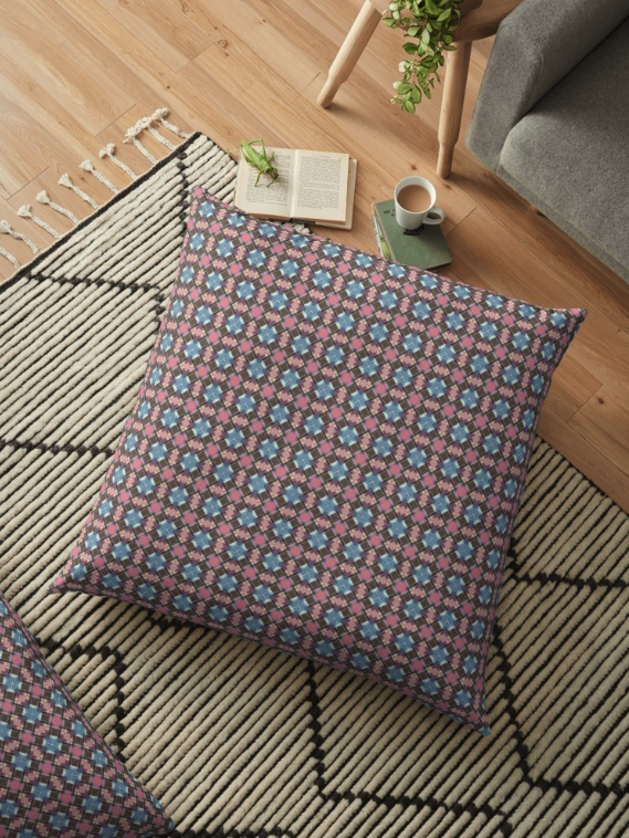 Checkered Pattern Floor Pillow
