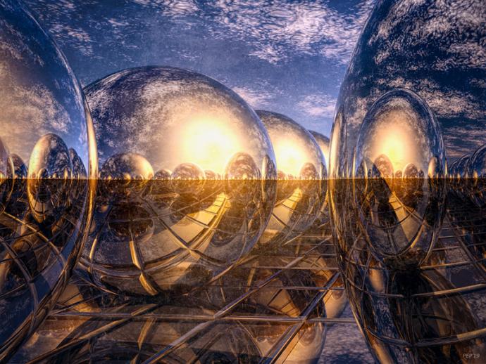 Surreal Metallic Spheres