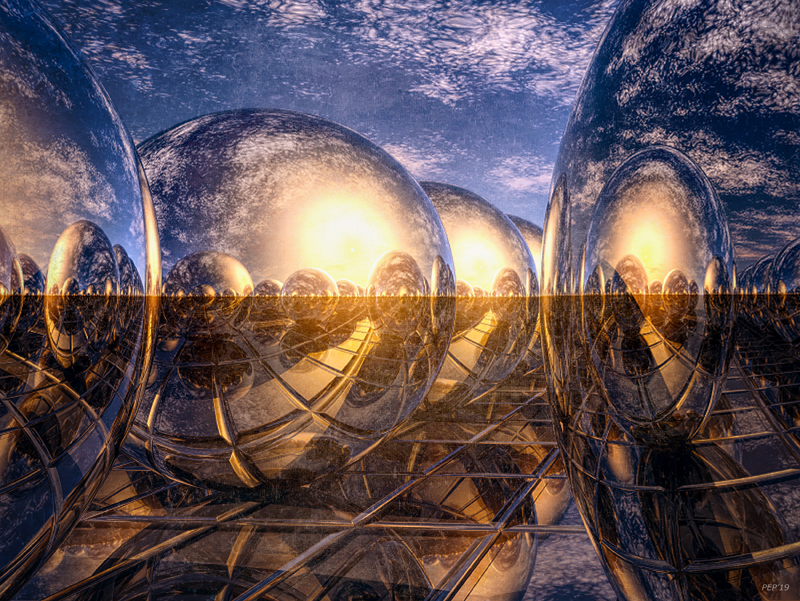 Surreal Metallic Spheres